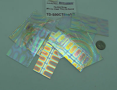 TIE DYE Dichroic On THIN CLEAR 90 COE Bullseye 8 oz SCRAP GLASS Fusing Jewelry