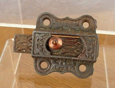 Vintage Small Weathered Iron Metal Eastlake Cabinet Window Slide Latch 5