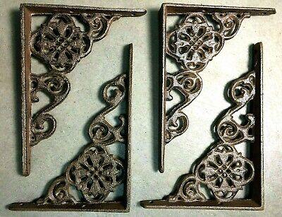 "SET of 4 ANTIQUE BRONZE VICTORIAN FLORAL STYLE cast iron brace bracket corbel 6"" 11"