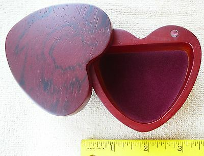 BURGUNDY RED wood heart shaped jewelry box velvet lined 3 18 x 2 7