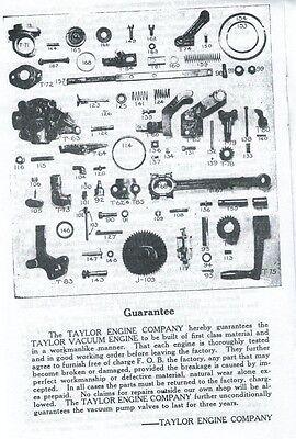 Instructions on Taylor Vacuum Type B Gas Engine Motor Book Flywheel Parts List 2