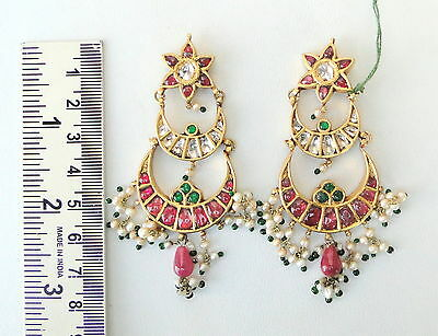 Vintage Antique 20K Gold Diamond Polki Ruby Emerald Pearl Earring Pair India 4