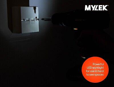 Mylek 18V Cordless Drill Driver Set Combi Lithium Ion Screwdriver LED Worklight 4