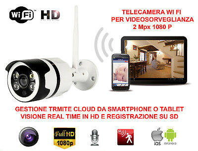 Telecamera Videosorveglianza Ip Hd 1080P Wireless 2 Mpx Esterno Cloud Wifi Led 2