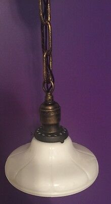 Vintage Brass Pendant Light With Beautiful Globe Hubbell Socket 2