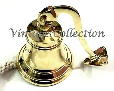 Brass Ship Bell with Rope Lanyard Pull ~ Nautical Maritime Home Wall Decor 4