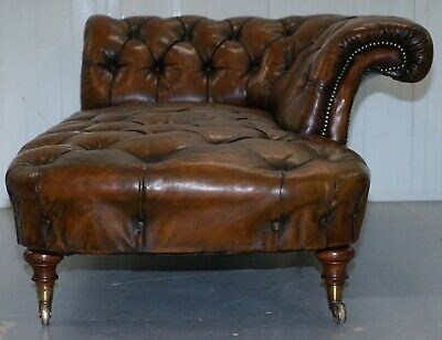 Howard & Son's Restored Brown Leather Chesterfield Chesterbed Walnut Framed 11