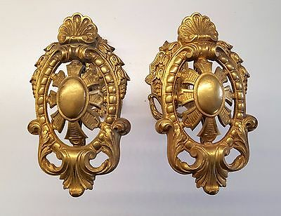 ANTIQUE FRENCH CHATEAU BRONZE CURTAIN TIE BACK HOOK HOLDER X 2 Large 5