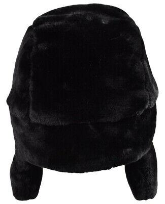 Russian Trapper Hat black With Soviet Badge Faux Fur Ushanka Cossack Flap Cap AU 9