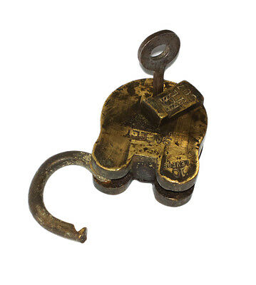 A Fantastic Vintage very Old genuine Brass made Padlock Lock + 1 Key from India 6