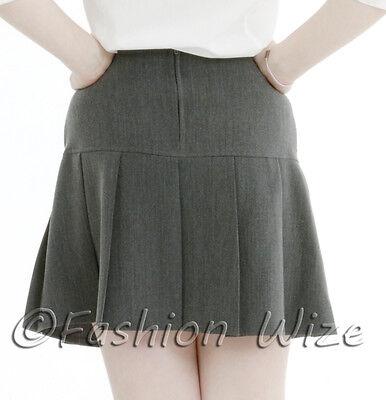 Girls Womens Pleated School Skirt Drop Waist Grey Black Navy Ages 5-16 Size 6-24 4