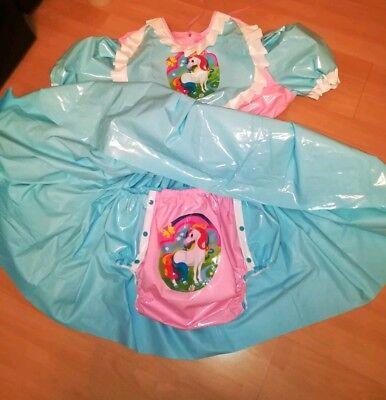 Adult Baby Kleid Windelhose Gummihose Sissy PVC LACK Diaper Plastik EINHORN XL 7