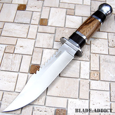 """10.5"""" Stainless Steel Survival Skinning Hunting Knife Wood Handle Bowie CAMPING 2"""