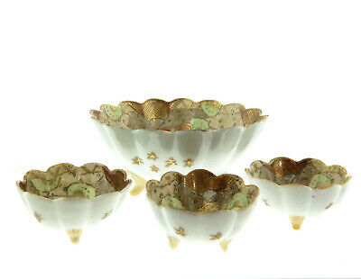 "Antique Japanese Kutani Hand Painted Porcelain Bowls 6"" and 3"" Set of 4 2"