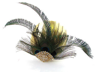 Gold Green Peacock Statement Feather Fascinator Pillbox Races Hat Ascot Vtg 2299 5