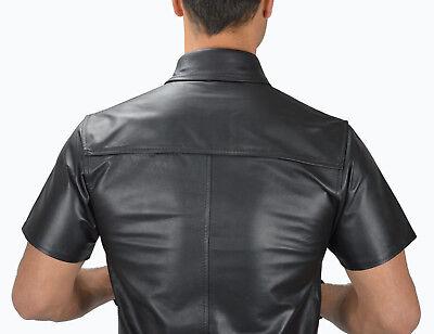 AW-666 Lederhemd Schwarze leder hemd,Soft leather shirt en cuir,Lederuniform 4