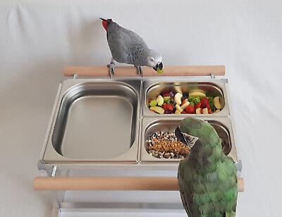 Papageien BADEWANNE / FUTTERNAPF Vögel Edelstahl FREISTEHEND Papageienbad *NEU*