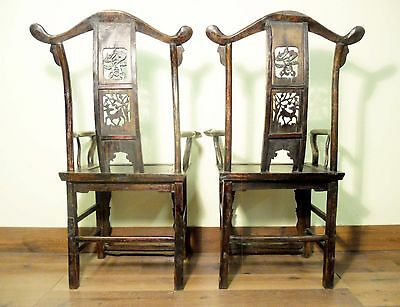 Antique Chinese High Back Arm Chairs (5802) (Pair), Circa 1800-1849 11