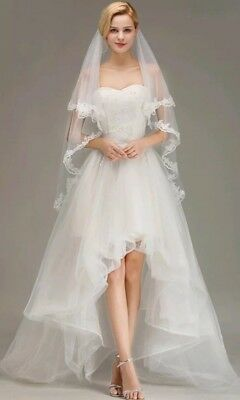 UK White Ivory 2 Tier Fingertip Length Bridal Wedding Veil Lace Edge With Comb 3