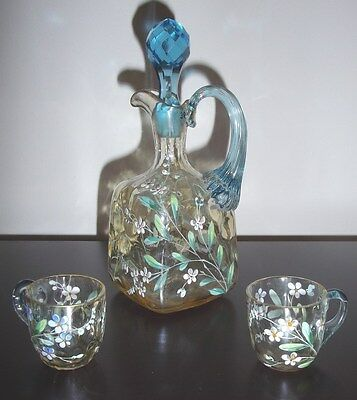 Rare 1880's New England Glass Hand-blown, Hand-painted Cordial Decanter & 2 Cups 3