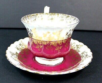 Royal Albert Regal Series Burgundy Footed Cup & Saucer Bone China 4396 Mint 6