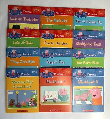 Peppa Pig Childrens Books Phonics Learn to Read Gift Set Lot 12 12