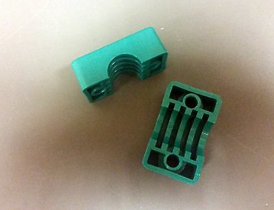 """Lot of 10 pairs Polypropylene Pipe//Tubes Clamps Green Insulators OD 2/"""""""