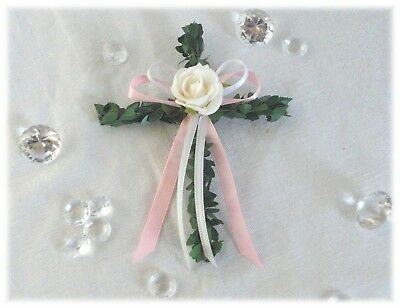 10 X Buchsbaum Kreuze Rosa Tischdeko Kommunion Konfirmation