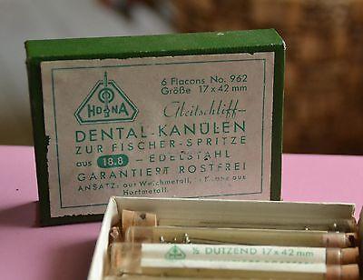 antike Hona Dental Kanülen zur Fischer Spitze Verpackung Schachtel Flacons 6