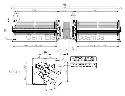 Ventilatore Tangenziale doppio diametro 80 mm 120 W alte temperature 660 m³ora 4
