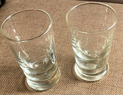 2 X Hand Blown Clear Glass Tumblers / Beakers - Heavy Base , Bubble Inclusions 2