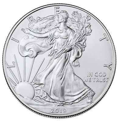 Roll of 20 2019 1 oz American Silver Eagle $1 GEM BU SKU55907 2
