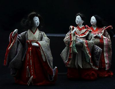 3x antique Hina Ningyo, Japanese Doll, Court Ladies, Gofun Glass eyes Open mouth 3