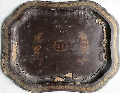 Antique BLACK LACQUER Gold PAINTED Wood Serving Tray Mughal ISLAMIC Persian 7