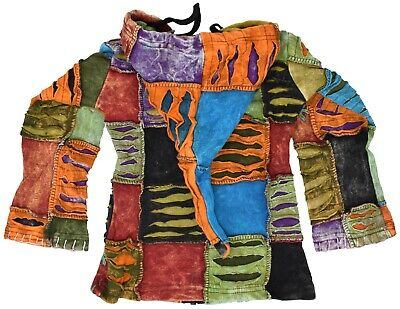 Patchwork Baby Girls Youth Hippie Funky Jacket Hoodie Boho Festival Sweater 4