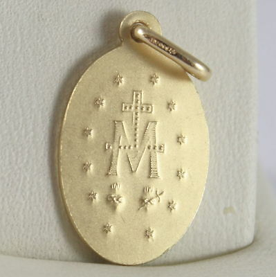 MADONNA SOLID 18K YELLOW GOLD MIRACULOUS MEDAL 0.94 MADE IN ITALY VIRGIN MARY
