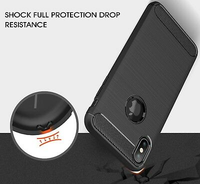 For iPhone XR X XS Max Carbon Fiber Cover Shockproof TPU Heavy Duty Soft Case 6