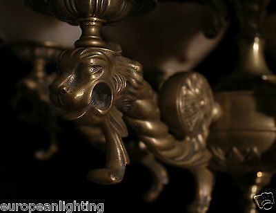 chandelier two-tier solid bronze & real alabaster lion head sculptures 12