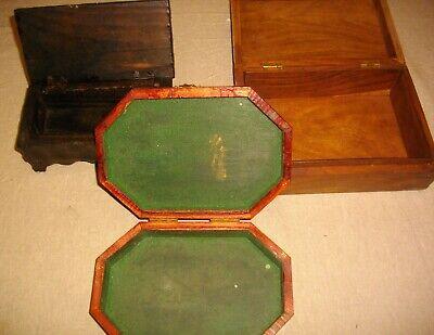 tres joyeros de madera y metal ( vintags) 21- 18 - 20 ctms largo 4