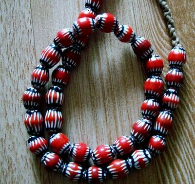 """21"""" 37 Bead Antique Phoenician Blue, White, Red Six Layer Chevron Glass Necklace 3"""