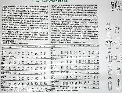 Miss Vogue Pattern 2678 UNCUT 5 EZ Pcs Jacket Dress Top Skirt Pants Size 6-8-10 2