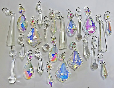 Aurora Borealis Ab Clear Chandelier Droplets Crystals Glass Retro Wedding Drops 6