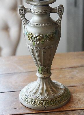 Antique Cast Iron Barbola Urn Lamp & Shade 2