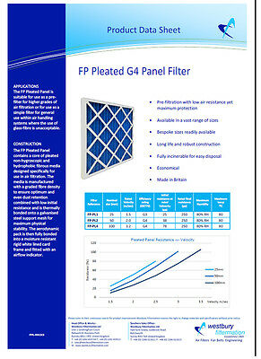 "G4 Pleated Panel Filters 2"" - Various Sizes - HVAC Air Filter - Fast Delivery"