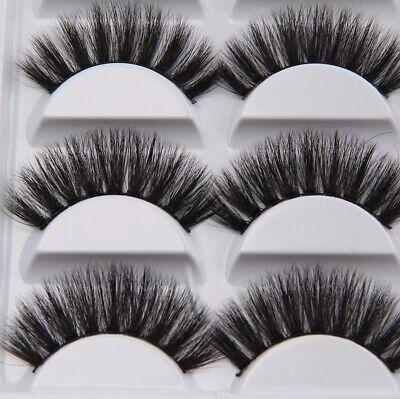 💙NEW 5 Pair 3D Mink False Eyelashes Wispy Cross Long Thick Soft Fake Eye Lashes 5