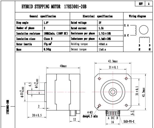 Nema 17 Bipolar Stepper 1.8deg 12v 1.2A 400mN.m 42x42x40mm 4-wires Nema17 CNC 2