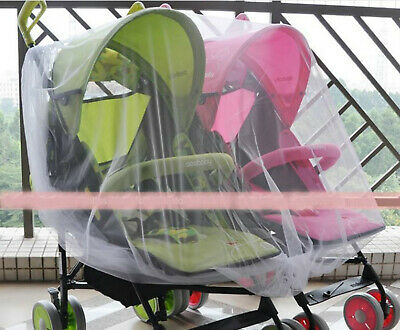 Mosquito fly insect sun dust protect cover net mesh Twin Pram Stroller 2