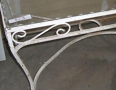 Antique   wrought iron  patio table   garden decor glass top 2
