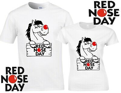 Red Nose Day 2019 Comic Relief, WHITE BLACK t shirt fundraising PONY PLAQUE 2