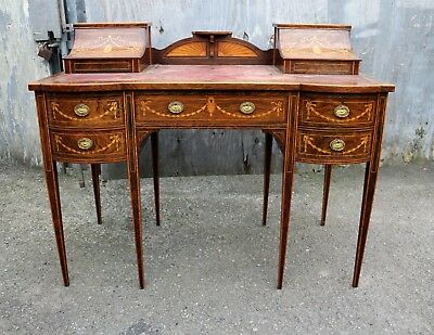 A lovely English Rosewood & Satinwood Marquetry Inlaid Writing Desk 4